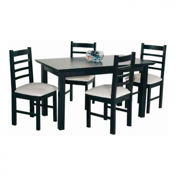 Combo mesa lustrada 140x0 80 4 sillas tapizadas sol lejaim for Sillas de escritorio walmart