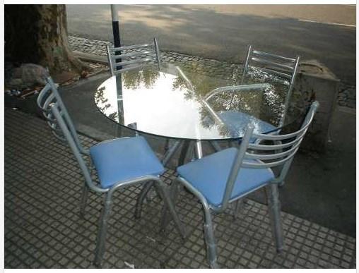 Mesa cristal 120x70 c 4 sillas ca o lejaim for Mesa cristal 120x70